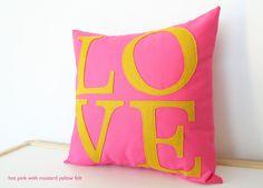 Serif LOVE Pillow - Custom Color - You Choose - Back to School - Dorm Decor