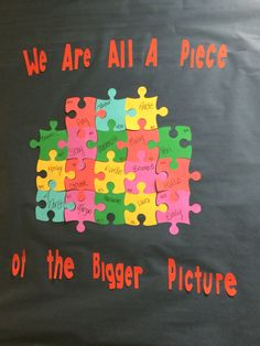 Resident assistant bulletin board floor community we are all a piece of the bigger picture puzzle theme Math Classroom Decorations, School Decorations, School Themes, Puzzle Bulletin Boards, Spring Bulletin Boards, Puzzle Board, Classroom Bulletin Boards, School Classroom, Diversity Bulletin Board