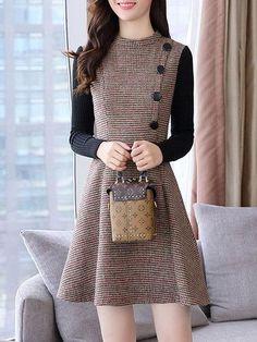 #BFCM #CyberMonday #PopJulia - #PopJulia Paneled Button Plaid Knitted Long Sleeve Dress - AdoreWe.com