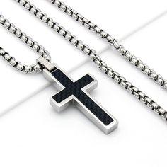 "Mens 24"" Stainless Steel Silver Box Chain Necklace Black Carbon Fiber Cross Pendant"