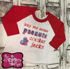 Buy Me Some Peanuts & Cracker Jacks Baseball Sleeve Top Size 2T-12