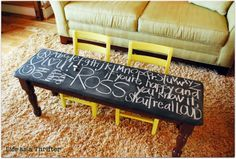 "For the ""kids table,"" paint the surface with chalkboard paint to give the little ones something that will keep them occupied."