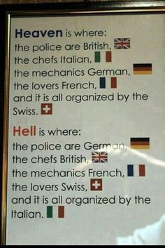 The definition of Heaven and Hell, and I agree completely, especially on who are the chefs and mechanics...