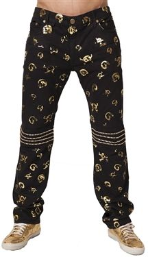 Robin's Jean Motard Pants in Gold Skull Print (Black/Gold). Made in USA. Robin's Jean creates a rich black and gold wash that pairs perfectly with shoes trending this Summer 2014. An additional look is the detailed gold Swarovski trimming on the knees and back pockets.