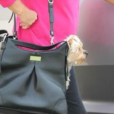 Sadie Mia Michele Black Faux Pebble Leather Carrier - Airline Approved