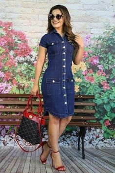 Jeans Dress Models - Women's style: Patterns of sustainability Latest African Fashion Dresses, Women's Fashion Dresses, Casual Dresses, Casual Clothes, Summer Clothes, Blue Denim Dress, Denim Outfit, Jean Dress Outfits, Denim Dresses