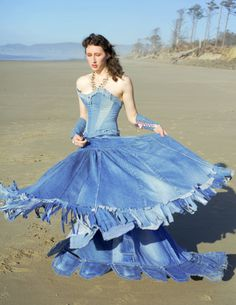 Blue Jean Ball Gown by Temperate-Sage.deviantart.com on @deviantART