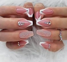 70 Wedding Natural Gel Nails Design Ideas for Bride 2019 Page 53 of 71 Soflyme Cute Acrylic Nails, Gel Nail Art, Acrylic Nail Designs, Glitter Nails, Nail Art Designs, Nails Design, Salon Design, Fancy Nails, Trendy Nails