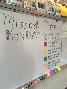 Missed you Monday white board activity. Future Classroom, School Classroom, Classroom Activities, Classroom Organization, Classroom Management, Classroom Ideas, Student Teaching, Teaching Tips, Responsive Classroom