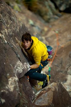 Free Solo Rock Climbing - Alex Honnold He may be nutz but he's amazing  (I in no way advocate unsafe free solo climbing) In this pic he's sport or trad climbing with a rope