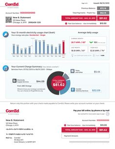 ComEd New Residential Billing Statement on Behance