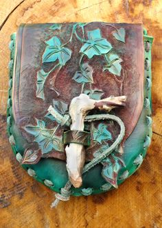 Hand made carved leather Ivy leaf design by CrowmanLeather on Etsy, £60.00