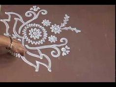Simple New Beautiful Rangoli Design with Fingures - YouTube
