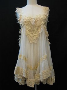 Custom Made Pretty Ivory Lace with White Chiffon Babydoll Dress from Madabby on Etsy. Vintage Outfits, Vintage Dresses, Vintage Fashion, Edwardian Fashion, Gothic Fashion, Vintage Lingerie, Vintage Lace, Antique Lace, Babydoll Dress