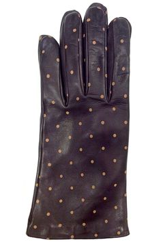 Rich dark brown Lamb skin Leather Gloves with Spice color Polka dots,These gloves not only will keep your hands warm but they also look very stylish with your coat.   Brown Dots Leather Glove by Santacana Madrid. Accessories - Winter Accessories Portland, Oregon
