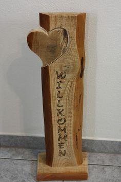 Buchstaben & Schriftzüge - Willkommen Holz Stele aus Kiefernholz, Handmade! - ein Designerstück von Holzdeko-Isny bei DaWanda