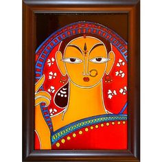 Jamini Roy: Pujarini - Glass Painting