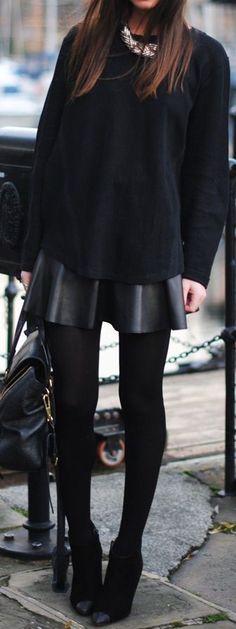 #winter #fashion / black knit + skirt