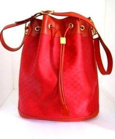 Red Gucci Shoulder Bag, Drawstring,Bucket Style,Cross Body Authentic Vintage 1980s | VintageGlassGarden - Bags & Purses on ArtFire
