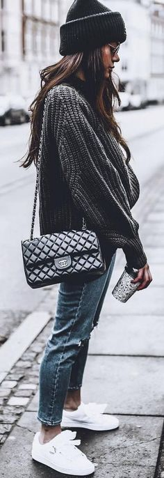 street style obsession / hat + sweater + bag + sneakers + rips
