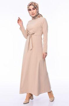 Belt Dress 1197-04 Mink 1197-04 Color Tag, Belted Dress, Mink, Evening Dresses, High Neck Dress, Plus Size, Stylish, Long Sleeve, Fabric