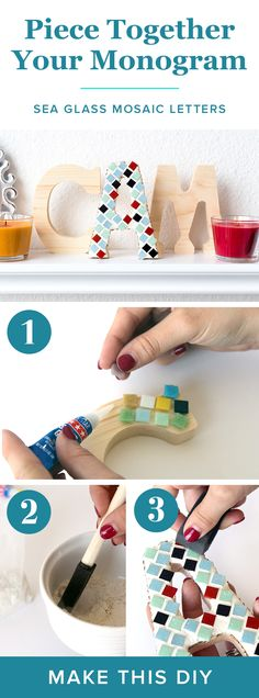 DIY Mosaic Seaglass Monogram Project | Decor