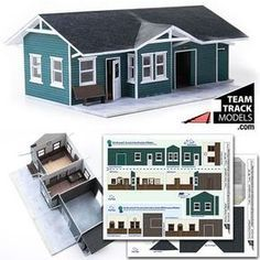 Paper model railroad depot. In 7 colors and most popular scales. Download, print and build. Available at TeamTrackModels.com.