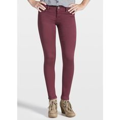 maurices Jegging In Harvest Wine ($34) ❤ liked on Polyvore featuring pants, leggings, harvest wine, ankle length pants, maurices, jeggings pants, zipper leggings and zipper pants
