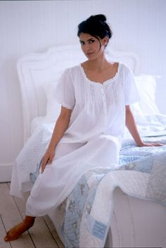 07eefb39d2 Pretty white cotton nightdress with dainty blue embroidery. Perfect for  maternity wear. Night Dress