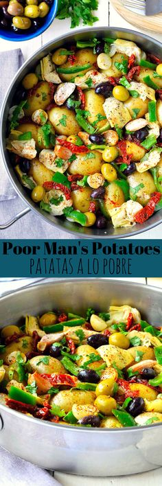 This recipe for patatas a lo pobre, or poor man's potatoes, is simple and really easy to make but full of flavour and textures. A traditional Spanish tapa recipe, this dish also makes a great light lunch or side. Usually fried in a copious amount of oil, my poor man's potatoes recipe is lightened up by steaming the potatoes in vegetable stock then flavouring them with smoked Spanish paprika, red wine vinegar and fresh herbs.