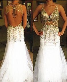 2016 New Arrival Beaded Crystals Prom Dresses, V-Neck Formal Dresses, Sexy Party Dress, Backless Prom Dresses Custom Made