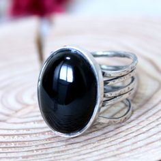 Wave Onyx Ring/ Onyx Cocktail Ring/ Handmade Sterling Silver Ring by rosajuri on Etsy