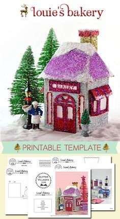 Christmas Village Bakery - owned by the boulanger, Louie! DIY printable pattern just like the nostagic Putz village templates. Christmas Village Houses, Christmas Village Display, Putz Houses, Christmas Villages, Christmas Decorations, Christmas Ornaments, Mini Houses, Paper Ornaments, All Things Christmas