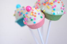 Confetti Mini Cupcake Cake Pops - Edible Gift Favors For Birthday Party, Wedding Or Baby Shower - 12 Pieces by Crumbtastic on Gourmly