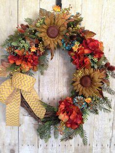 Front Door Wreath- Hydrangea Door Wreath- Spring Door Wreath- Summer Door Wreath- Grapevine Wreath- Outdoor Door Wreath- Sunflower Wreath by spratsdesign on Etsy