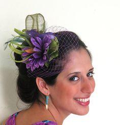 Fascinator STAVVY SMALL PURPLE fascinator hat by FascinatorsFirst, $38.00