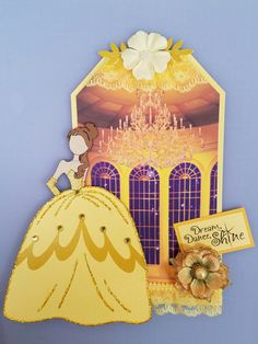 Belle prima doll tag - beauty and the beast - yellow - Disney