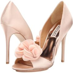 Badgley Mischka Women's Blossom d'Orsay Pump ($142) ❤ liked on Polyvore featuring shoes, pumps, peep toe wedge pumps, lace pumps, peep-toe pumps, wedge pumps and wedge wedding shoes