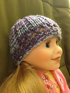 "Eyelet hat for 18"" dolls free knitting pattern"