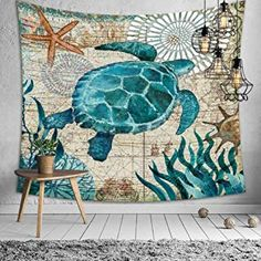 Jasion Sea Turtle Tapestry Ocean Animals Marine Life Wall Hanging Art for Home Headboard Bedroom Living Room Dorm Decor in Inches Hanging Art, Tapestry Wall Hanging, Blanket On Wall, Beach Bedroom Decor, Dorm Decorations, Marine Life, Home Art, Turtle, Ocean