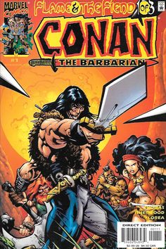 Conan: Flame and The Fiend Part 1 Familiar Fire , Written By Roy Thomas , Art By Geoff Isherwood , Cover Art geoff isherwood ,From the bronze barbarian's mercenary days comes a sword-swinging saga! Ri