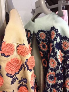 Beautiful Prada coats in the Grazia fash cupboard, sigh. Fashion Art, High Fashion, Fashion Show, Fashion Design, Textiles, Lesage, Fabric Manipulation, Mode Outfits, Fashion Details