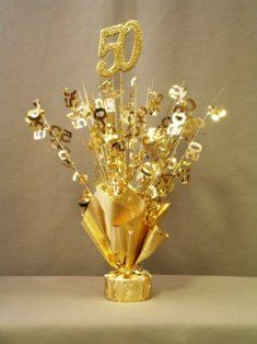 50th Wedding Anniversary Centerpieces | Gold 50th Anniversary Centerpieces, Set of 6
