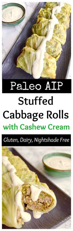 This tomato-less stuffed cabbage with cashew cream is dairy free, rice free and night shade free. It's AIP and Paleofriendly and great for a healthy Whole 30 meal | TastingPage.com