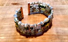 Green, Teal, Blue, Grey, Silver Glass Beaded Cuff Bracelet!