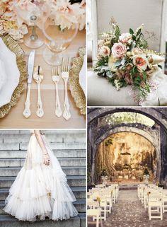 Gold, Cream & Peach Wedding inspo (links in post)