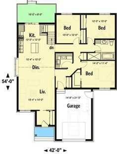 Plan 22517DR: Cottage Open Front To Back On The Left