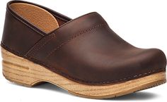 WomensProfessionalClogs  inAntiqueBrown-BlondeOiledLeather