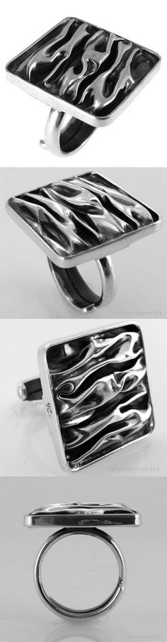 Rings 98493: Taxco Vintage Style 925 Crinkly Square Ring Adjustable | Mexico Sterling Silver -> BUY IT NOW ONLY: $39.95 on eBay!