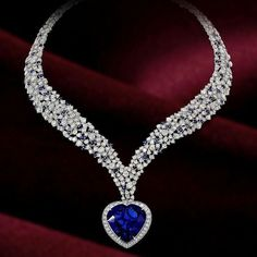 Silver Solid Blue Heart Round Halo Wedding Necklace Cz Valentine Day… – Jewelry And Accessories Star Jewelry, Jewelry Box, Fine Jewelry, Jewelry Sites, Jewelry Necklaces, Diamond Pendant Necklace, Diamond Jewelry, Diamond Necklaces, Ruby Jewelry
